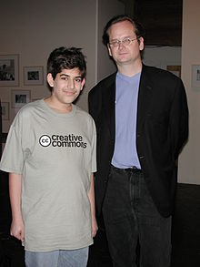 15 yo Aaron Swartz and Lawrence Lessig at the launch party for Creative Commons in 2002.  / courtesy wikipedia.org