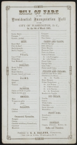 Menu for Lincoln's 2nd inaugural ball, March 6, 1865 [Smithsonian Institution / NPR.org]