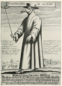 A copper engraving from 1656 shows a plague doctor in Rome wearing a protective suit and a mask. / Artwork by Paul Furst /Wikimedia.org